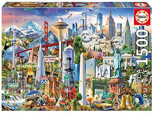Educa Borras-1500 North America Landmarks Puzzle, Colore Vario, 17670