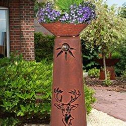 floristikvergleich.de Jabo Design Konische XL Rostsäule + Schale RS104+S11 Hirsch Kostenloser Versand/Garten Blumensäulen Säulen Rost Deko