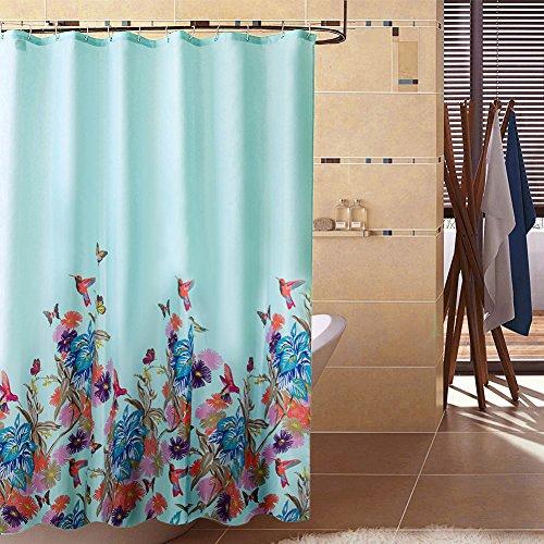 S-ZONE Impreso flores y aves y mariposa moho poli¨¦ster Prueba Tela cortina de ducha de 72x72 pulgadas con 12 ganchos