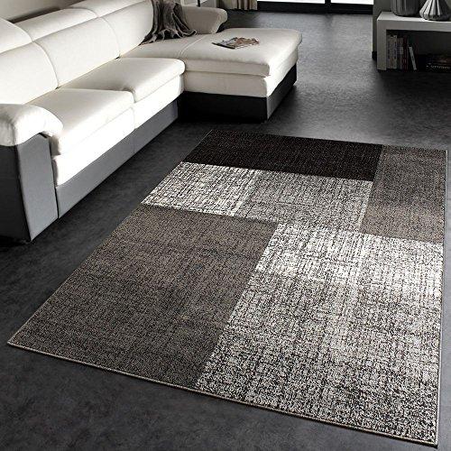Paco Home Tappeto di Design Moderno A Quadri Miscela Grigiore Marrone Crema, Dimensione:140x200 cm