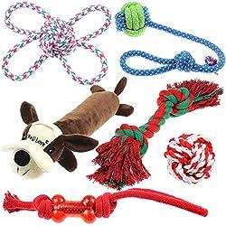 Well Love Dog Toys - Chew Toys - 100% cotone naturale corda - Squeak Toys - Palline Dog - Dog Bones - Peluche cane - Dog corde - tiro alla fune palla - giocattoli per cani 6 pezzi Set Dog