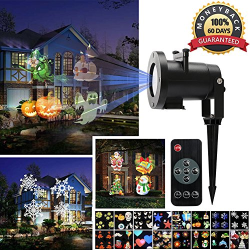 christmas decoration light projector ernovo led landscape spotlight with 16 slides switchable patterns waterproof moving