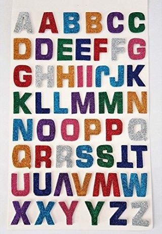 52-Stck-selbstklebende-groe-bunte-glitzernde-Buchstaben-Aufkleber-mit-3D-Effekt-von-Glitterati