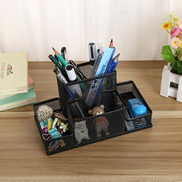 Almand New Arrival Multifuction Black Cube Metal Book Stand Mesh Style Desk Tidy Pencil Metal Pen Holder Office Home Supplies Gift 3