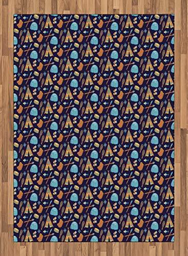 ABAKUHAUS Polo Nord Moquette Tessuta Piatta, Eskimo Elementi simbolici, per Soggiorno Camera da Letto Sala da Pranzo, 160 x 230 cm, Mehrfarbig