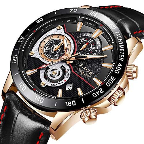 Herrenuhren Wasserdichte Chronograph Sport Analog Quarzuhr M?nner Luxusmarke LIGE Mode Gesch?ft Armbanduhr Mann Schwarz Leder Uhr