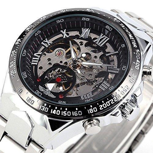 Ricercato orologio meccanico automatico russo, sportivo ed elegante al tempo stesso, da uomo, cassa in metallo, con custodia