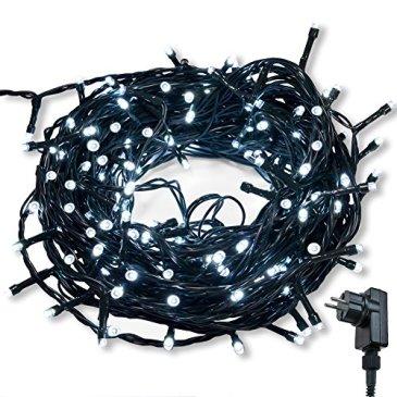 Guirlande lumineuse WISD sur Câble Vert avec 8 modes de fonction EU Prise Plug, Décoration Romantique Intérieure et Extérieure pour Noël, Sapin, Chambre, Jardin, Fêtes, Mariages