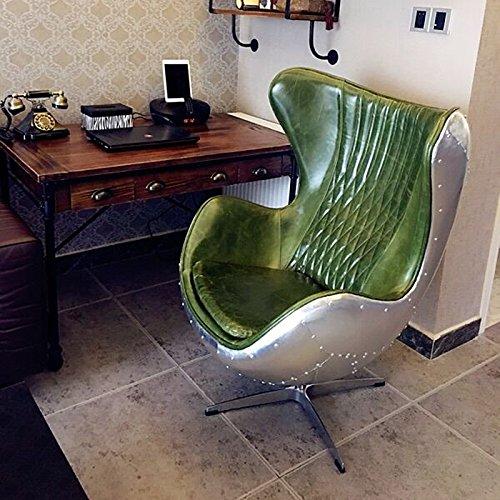 Plushdeco Pre-Order in Pelle Verde/Alluminio Eggchair (Replica) Sedia Girevole Poltrona Aluminum-Club sedie-Sedia Relax