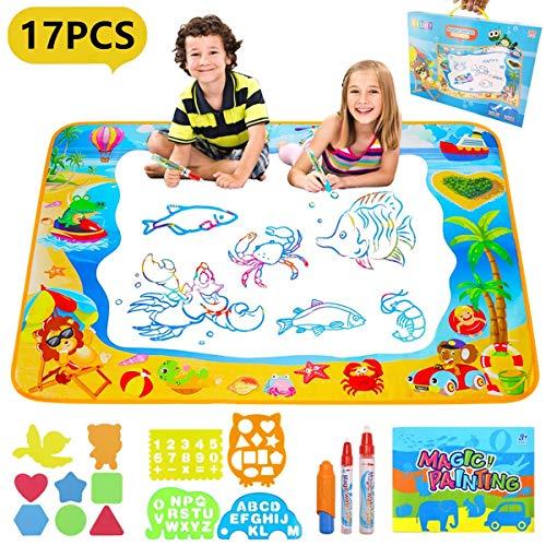 Pachock Grande Doodle Tappeto Magico 100CM x 70CM, Acqua Doodle Tappeto Disegno con 3 Penne Magiche...