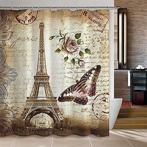 Y&L180.00 cm x 180.00 cm Cortina de ducha retro de la torre Eiffel y de mariposa Cortina de tela impermeable del cuarto de baño de la cortina , 180*180