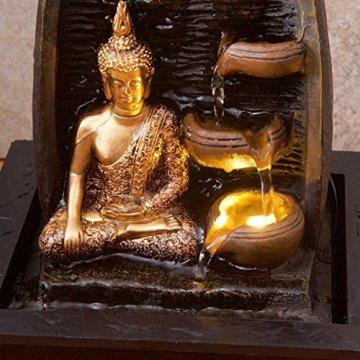 Bibiana Buda Dorado con Tazas de Agua y Fuente de Agua de Interior con luz LED, 21 cm x 18 cm x 25 cm 8