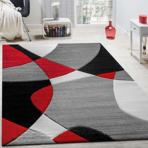 Paco Home Tappeto di Design Moderno Motivo Geometrico Taglio Sagomato in Rosso Nero Grigio,...