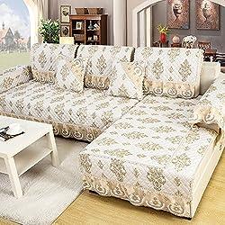 Goldene orange Gewebemode-Sofakissen, einfache moderne Sofagarnituren, vier Jahreszeiten rutschfeste Sofaabdeckungskissen ( größe : 90*240cm )