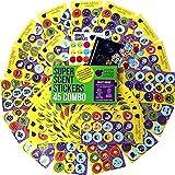 Multipack de 45 Hojas de Pegatinas para Rascar y Oler de Purple Ladybug Novelty | Stickers de Colores Divertidísimos para Niños y Profesores | 15 Intensos Aromas para Disfrutar Haciendo Manualidades
