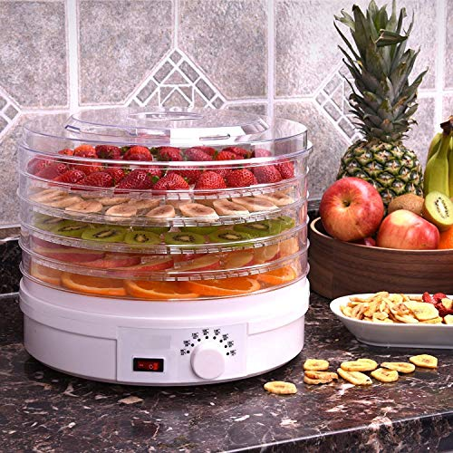 Prakal Food Dehydrator, Electric Digital Food Dehydrator Machine for Jerky, Fruit, Vegetables & Nuts, Vegetable Dryer with Timer and Temperature Control, Homeleader Food Dehydrator with Five Trays