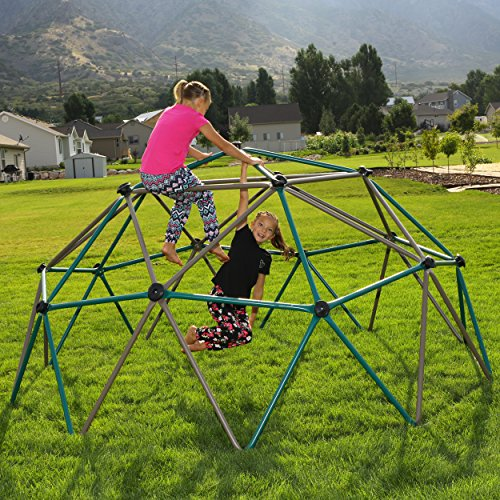 Even with such a simple design, this dome style climbing frame is as fun as it's effective. Not only can it hold up to 6 kids at the same time, but it will help children fine tune their motor skills whilst they exercise. The steel frame is very solid and has been powder coated to remain stubborn to the elements. It looks pretty too and virtually requires no maintenance. This freestanding model is lightweight and movable plus its natural colours can blend in well with almost any garden. If you want your children to build physical strength, the Lifetime 90136 Dome Climber (Earthtone) makes the right investment.