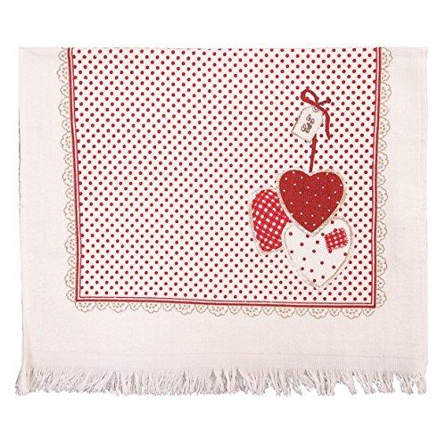 Clayre & Eef CTHH - Toalla para Invitados (40 x 60 cm), diseño de corazón, Color Rojo