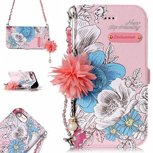 Iphone 7 Hülle, IPhone 8 Schutzhülle, Alfort Lederhülle Blumen Hängende Kette PU Leder Tasche Wallet Case für Iphone7/8 Smartphone mit Standfunktion (Grundlegende blaue Rose)