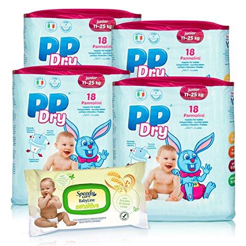 Kit 4 confezioni pannolini PPDry Junior 11 - 25 KG (72 pezzi) + 1 confezione salviettine umidificate Opac Sensitive (72 pezzi)