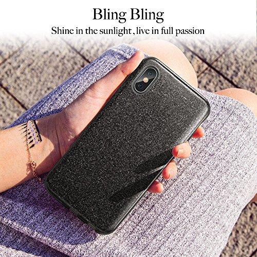 ESR Cover iPhone X, Custodia con Glitter Bling Scintillante Brillantini [Tre Strati] per Donna [Supporta la Ricarica Wireless] per Apple iPhone X da 5.8 Pollici.