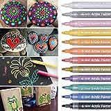 Acrylstifte Marker Stifte, DealKits Wasserfest Acrylfarben Marker Set für Steine Scrapbooking DIY Fotoalbum Gästebuch Holz Hochzeit Schwarzes Papier Hand lettering-12 Farben