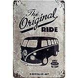 Nostalgic-Art VW Bulli The Original Ride Placa Decorativa, Metal, Gris y Azul, 20 x 30 cm