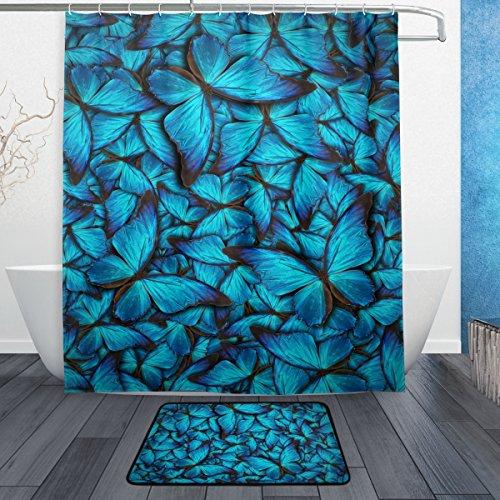 Mi Diario Azul Mariposa cortina de ducha con alfombrilla de baño alfombra y ganchos, resistente al moho y poliéster resistente al agua-cortina de baño Set