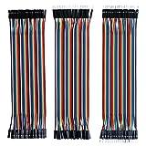 Elegoo 120pcs 3 in 1 Kit Cavetti Jumper Filo Dupont Wire 28AWG Cavi 40 Pezzi da M/F Maschio a Femmina, 40 Pezzi da Maschio a Maschio, 40 Pezzi da Femmina a Femmina per Arduino Uno Raspberry Pi