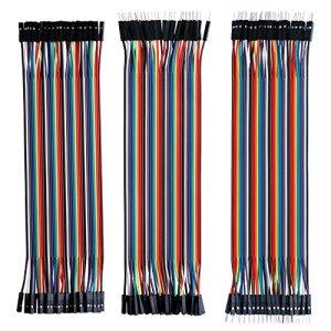 61TQP733AwL - ELEGOO 120 Piezas de Cable DuPont, 40 Pines Macho-Hembra, 40 Pines Macho-Macho, 40 Pines Hembra-Hembra, Cables Puente para Placas Prototipo (Protoboard) para Arduino