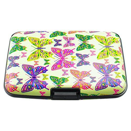 YINUO Billetera Caso Funda Con Bloqueo De RFID Para Tarjeta De Crédito/ identidad (Mariposas de colores)