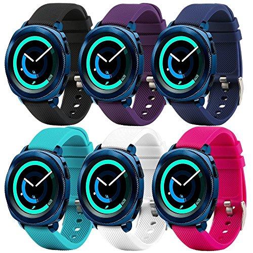 Bracelet de rechange Fit-power pour montre connectée - 20mm Pour montres Samsung Gear Sport / Samsung Gear S2Classic / Huawei Watch 2/ Garmin Vivoactive 3 / Garmin Vivomove HR, Plain 6-colors