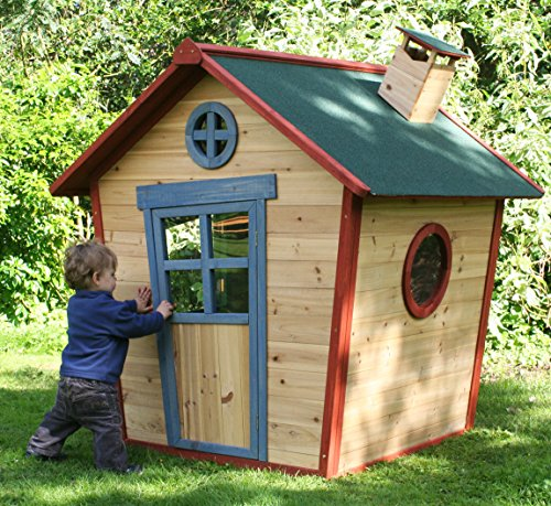 This playhouse has a pretty solid wood construction and it comes pre-stained to eliminate the need for any kind of treatment. The shape has the wow factor and it looks like a real house for children, with a working door, practical windows, and chimney. Kids will feel covered and inspired to play under the protective roof, whilst the peep hole is something they will love when playing hide and seek. The featured shatterproof windows won't pose danger if your little adventurer's knock against them whilst running around.