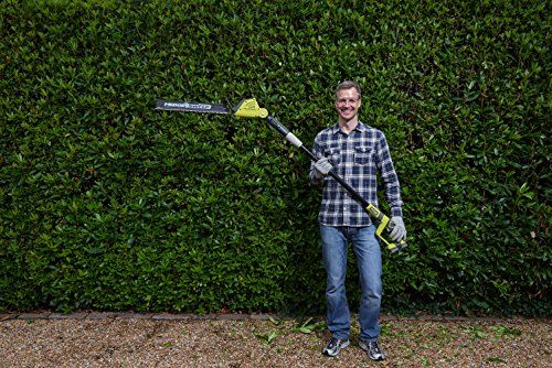 The Ryobi ONE+ 18V Cordless Pole Hedge Trimmer offers powerful cutting performance owing to its premium 18v motor. Ryobi is well know for there quality tools and this model is up there with the very best models for quality and performance.