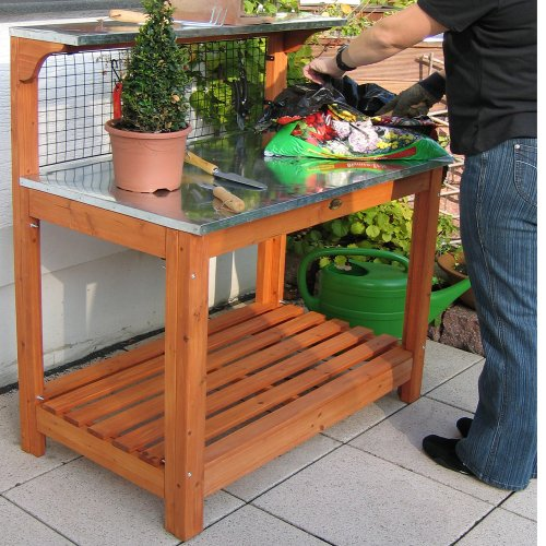 The Habau 695 Garden Table with Zinc-Plated Working Surface is an excellent and beautiful addition to any garden, thanks to its striking design and finish. The top is made of galvanised metal which is incredibly easy to wipe clean with a damp cloth. You can as well wash it with a garden hose if the dirt is stubborn.