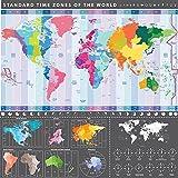 dettagliata mappa del mondo (grafico) con fusi orari–Maxi Poster da parete–58cm x 56cm