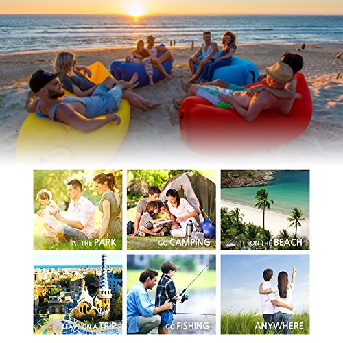 iRegro wasserdichtes aufblasbares Sofa mit integriertem Kissen, tragbarer aufblasbarer Sitzsack, Aufblasbare Couch, aufblasbares Outdoor-Sofa für Camping, Park, Strand, Hinterhof (blauschwarz) - 5