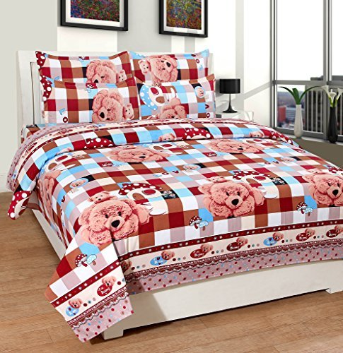 Cozyland 3D Print 120 TC Polycotton Double Bedsheet with 2 Pillow Covers - Multicolour