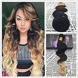 "Moresoo 100% alta qualità brazlian Remy Hair Body Wave Weaving Extension Ombre 1B/30100g/Bundle 14"""