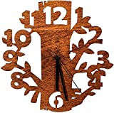 Laserò wooden wall clock - Ultra Modern and Original Design - Handmade Wall Clocks materials - Ideal for Kitchen, Living Room and Bedroom - Creative Gift Idea