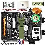 BioHealth-Paris Survival - Kit de supervivencia de emergencia multiherramientas, 11en1, para profesional y amateur,equipo de ataque y defensa para acampada, senderismo, exteriores, viajes, caza, orientación y más, certificado CE, FDA, etc.