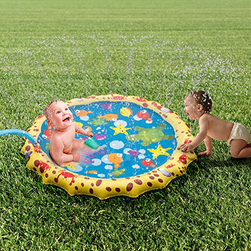 UOKOO Sprinkle and Splash Play Mat, Water Toys for Kids/Dog/Cat/Pets, Summer Toys for Outdoor Family Activities