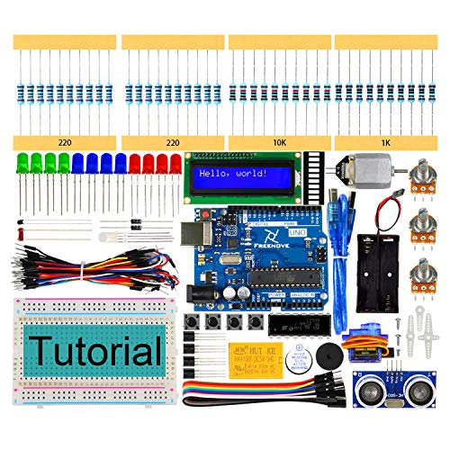 Freenove Ultrasonic Starter Kit with Uno R3 (Arduino-Compatible), 139 Pages Detailed Tutorial, 157 Items, 26 Projects, Solderless Breadboard