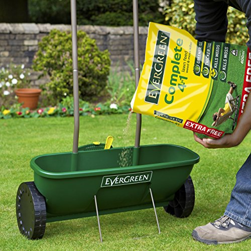The lawn Easy Spreader Plus from Evergreen is ideal for applying granular lawn products and seeds to your garden. The Easy Spreader Plus takes about 2 minutes to assemble which is something most of you will appreciate. This spreader is sure to take care of your lawn with its large tires that'll take it anywhere, easy-to-use control, and ergonomic handle for moving it around comfortably.