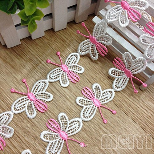 2 yardas de mariposa decorativos de borde de encaje. Lazo Blanco 4,5 cm de ancho Vintage estilo rosa tela bordado Applique costura Craft vestido de boda adornos DIY Decoración Ropa Bordado