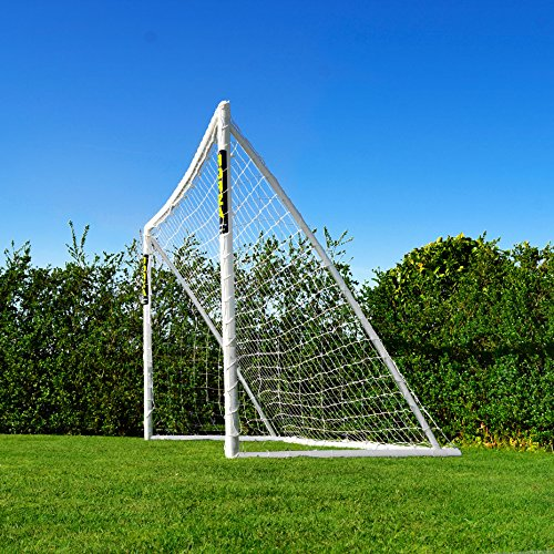 Standing at 12ft x 6ft, this is perfect for enhancing the backyard football experience for kids from 7 to 11 years old. Weatherproof PVC goal posts and HDPE football net ensure great resistance to rigorous elements and long-lasting performance, and such it can be left out during all four seasons.