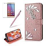 Girlyard Custodia per Huawei P20 Lite Glitter Diamante, 3D Cover Elegante Bling Strass Wallet Design Oro Rosa Flip Carte di Credito Supporto Portafoglio Bumper per Huawei P20 Lite Brillante Lucciante Luminosa Case Protezione