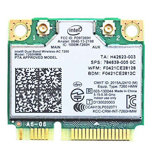I10Gb, Intel Dual Band wireless AC 7260 2 x 2 a CA e Bluetooth 4.0 P/N 7260-HMW