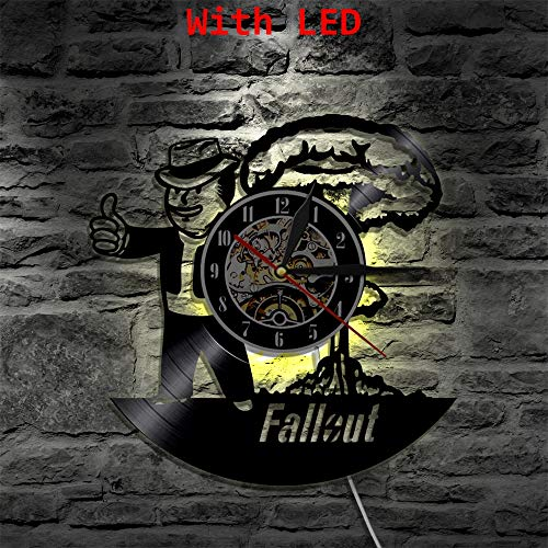 Fallout Led Orologio da parete in vinile Illuminazione Cambia colore Raffreddare soggiorno Interior Decor LP Lampada a mano Art Remote Control