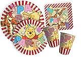 """Ciao Y4382 - Kit Party Tavola Winnie The Pooh """"Alphabet"""" per 8 persone 8 piatti carta Ø23cm, 8 piatti carta Ø20cm, 8 bicchieri plastica 200ml, 20 tovaglioli carta 33x33cm)"""